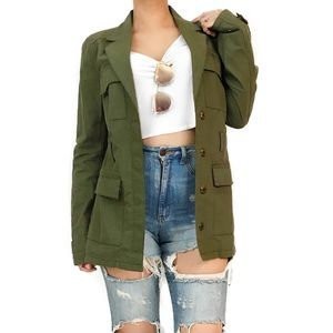 Elizabeth and James military style green jacket